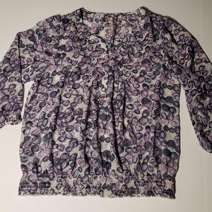 Leo & Nicole Blouse women XL Semi Sheer Purple Cir